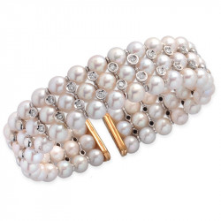 Flexible Cuff Natural Pearls