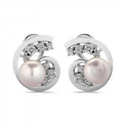 Pearls Earrings with Diamonds