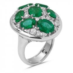 Anello Pave di Smeraldi e...