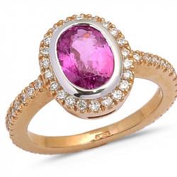 Anello con Zaffiro Rosa Ovale