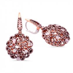 Pink Gold Earrings Diamonds