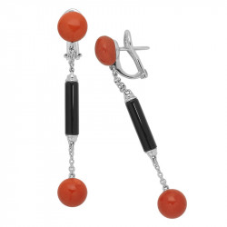 Red Coral and Onyx Earrings